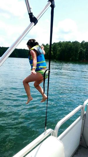 Took this of my little sister jumping off the boat Enjoying The Sun Swimming Peace And Quiet Beautiful Day Lovely Weather