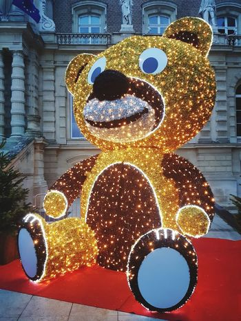 Christmas bear in Amiens (France) Christmas Lights Bear Teddy Bear Lights Lights In The Dark No People Outdoors Close-up Day Representing Astrology Sign