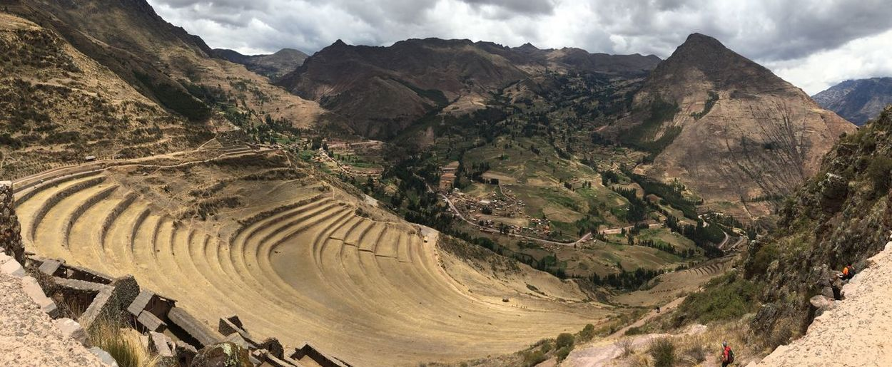 Terrace steps of Pisac archaeological site Peru IPhoneography On A Holiday Traveling Inca Valley Outdoors International Landmark Panorama Landscape