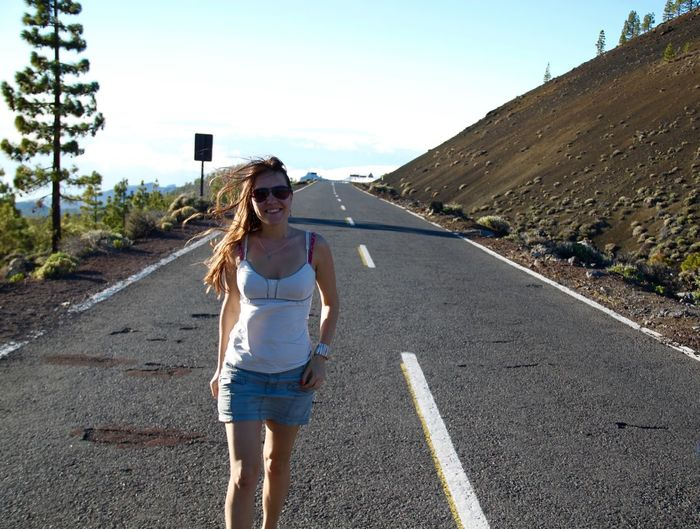 Canary Islands Casual Clothing Country Road Diminishing Perspective Enjoying Life Full Length Fun Girl Happiness Landscape Leisure Activity Lifestyles Nature Outdoors Road Road Roadtrip Running Sunlight Tenerife The Way Forward Vanishing Point On The Way On The Road Hidden Gems