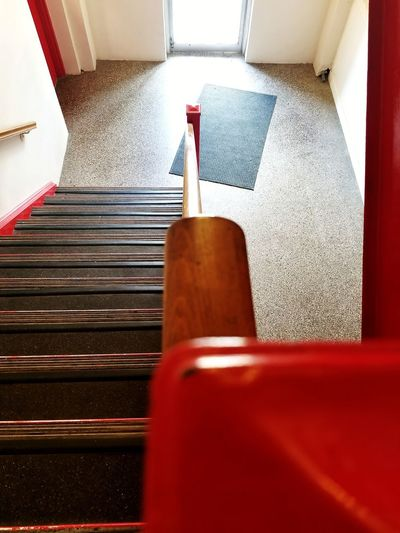 Red Indoors  No People Day EyeEmNewHere Old Buildings Stairs Steps Staircases Down Railings Door Light And Shadow Urban