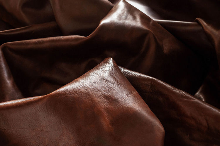 Full Frame Shot Of Brown Crumpled Leather