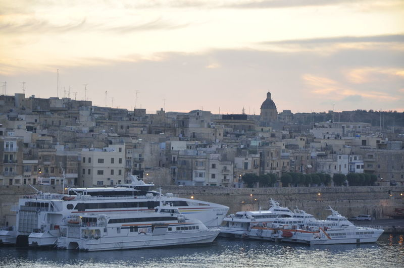 Architecture Boat City Cloud - Sky Community Cruise Harbor Malta Mediterranean  Outdoors Sea Port Sky Sunrise Transportation Traveling Water Waterfront