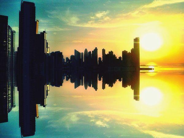 By Pit O. Pty My Art Relaxing Cintacostera3 Amanecer En Mi Ciudad Bahía De Panamá Mirror Picture Watter Reflection