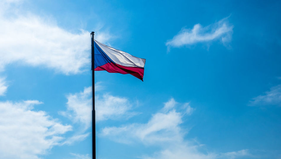 Czech flag waving in the wind Czech Republic Blue Cloud - Sky Czech Flag Day Flag Low Angle View Nature No People Outdoors Patriotism Red Sky Wind