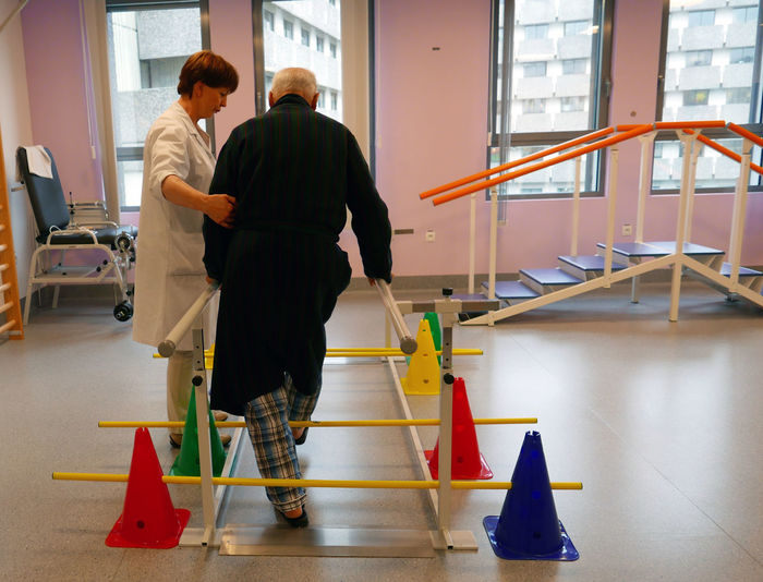 Nurse Helping Old Man Geriatrics Exercices Hospital Belgium