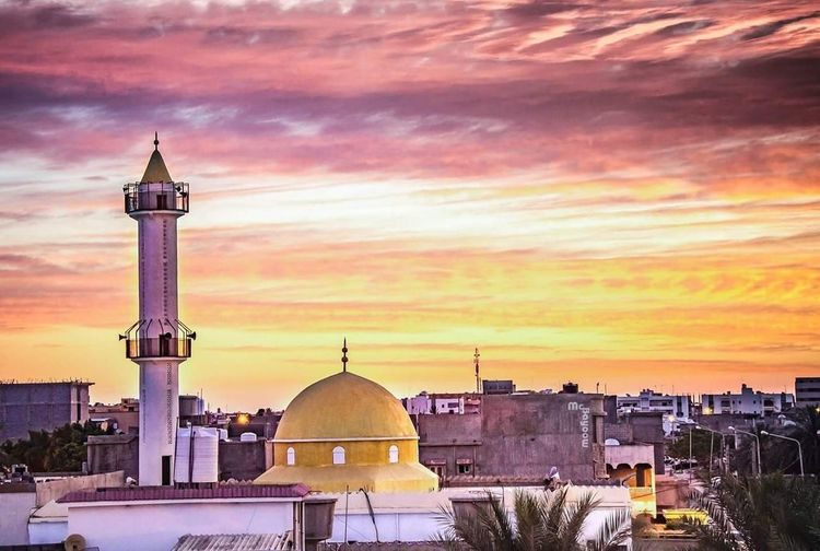 Sunset Architecture Built Structure City Place Of Worship Urban Skyline Social Issues Cityscape Outdoors No People Misrata Libya Cultures Architecture City