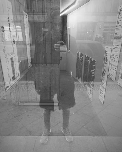 Looking In Exhibition Streetphotography Blackandwhite Streetphoto_bw Monochrome Self Portrait Reflection Berlin