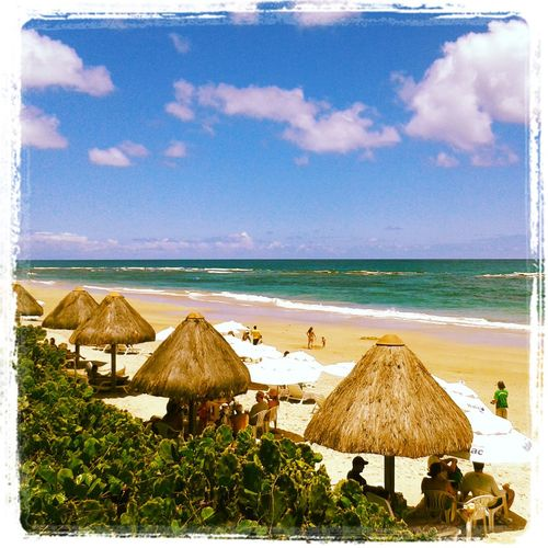 Auto Post Production Filter Beach Beach Umbrella Beauty In Nature Cloud Cloud - Sky Horizon Over Water Idyllic Lounge Chair Nature Sand Scenics Sea Shore Sky Thatched Roof Tranquil Scene Tranquility Transfer Print Water Porto Galhinas Sommergefühle
