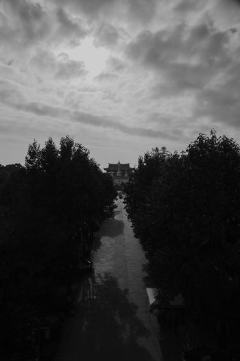 Canal amidst trees against sky