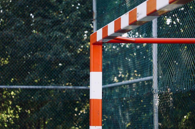 Old soccer goal sports equipment, street soccer in bilbao city spain