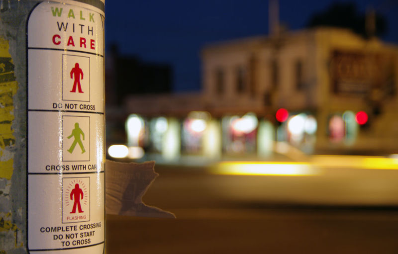 Crossing Road Night Danger Instructions Sign City City Life Road Sign Melbourne Rules Walk With Care Post Sticker Pedestrian Road Safety