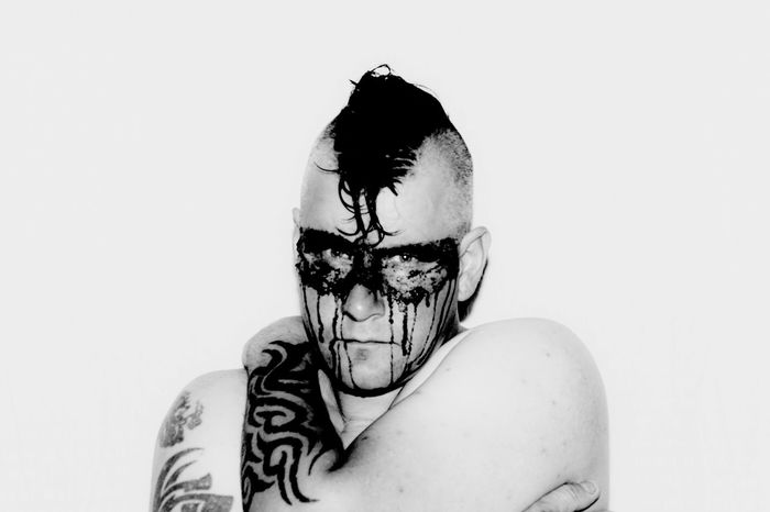Black And White Photography Black Color Casual Clothing Close-up Cut Out Face Paint Feelings Leisure Activity Lifestyles Looking At Camera Portrait Selfportrait Studio Shot Tattoos White Background Malemodel  Face Bodyart