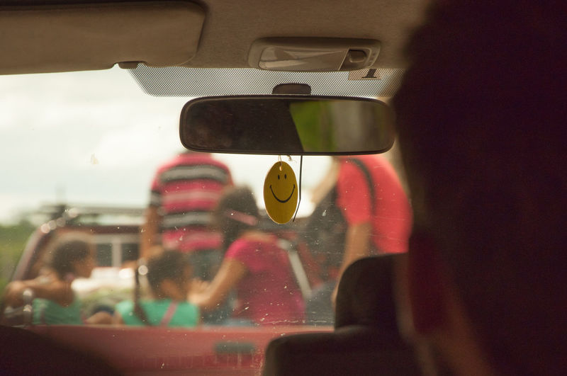 Car Car Interior Children Close-up Depth Of Field Enjoy The Ride Glass - Material Kids Land Vehicle Mirror Mode Of Transport Part Of Pickup Reflection Smile Smiley Transparent Transport Transportation Transportation Travel Vehicle Interior Q Qualitiy Time