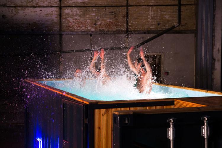 People having fun in a hot tub