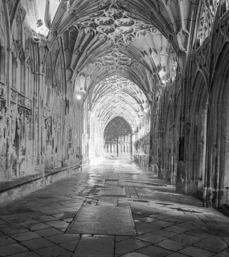 Corridor No People The Past Gloucester Cathedral Cathedral Light And Shadow HDR Harry Potter Fan Vaulting Arch Diminishing Perspective Indoors  Day Arched Black And White Medieval Historical Building