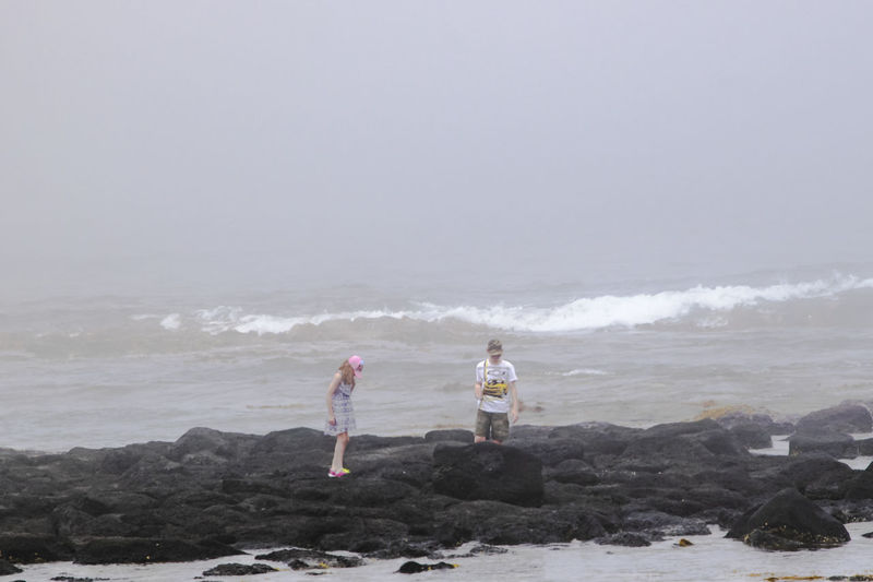 Boy and girl playing on the rocks. Children Exploring Kids Being Kids Kids Playing Adventure Beach Boy And Girl Casual Clothing Coast Fog Foggy Land Leisure Activity Nature Ocean Outdoors People Playing Rock - Object Rocks Sea Togetherness Two People Water Waves