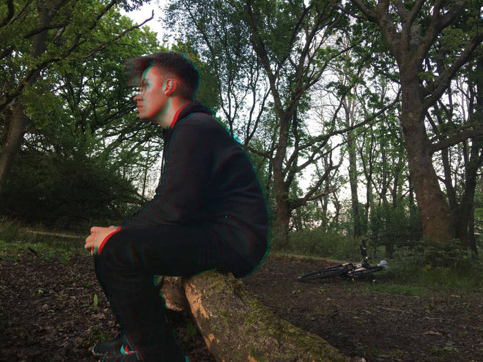 3D Abstract Beauty In Nature Casual Clothing Day Forest Full Length Leisure Activity Lifestyles Nature One Person Outdoors People Real People Side View Sky Standing Tree Wimborne Woods Young Adult Young Men
