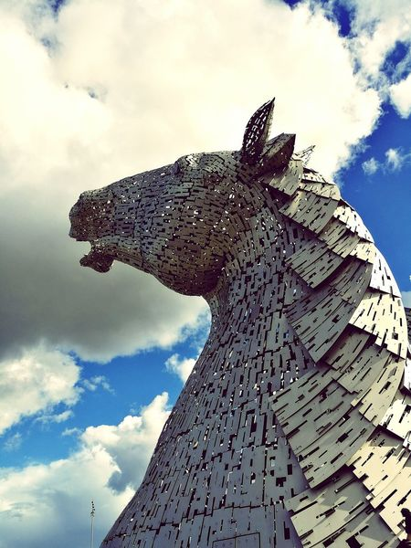 Kelpies of Scotland No People Innovation Outdoors Sculpture Kelpies Of Falkirk Scotland EyeEm Best Shots Falkirk Kelpies  Giant Sky And Clouds Epic Steel Structure  30 Meters Mythology Thehelix Horse