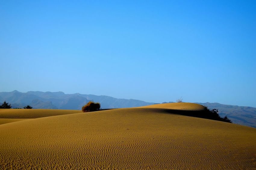 Beauty In Nature Blue Clear Sky Day Desert Landscape Mountain Nature No People Outdoors Rural Scene Sand Sand Dune Scenics Sky Tranquil Scene