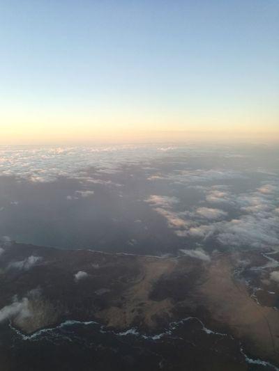 City Airplane Plane Mountain Cityscape Urban Skyline Planet Earth Sunset Fog Blue