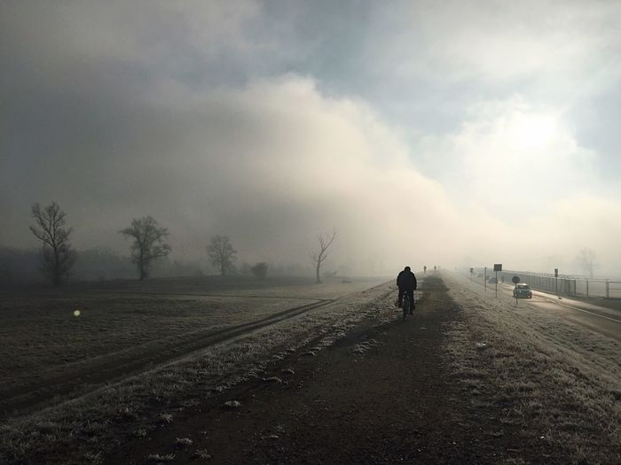 People slowly arriving to Hrelic flea market in Zagreb, Croatia, 09:17 am, Dec 11, 2016. Hrelic Zagreb Croatia Flea Market Nature Landscape Outdoors Scenics Fog Eary Morning Mystery Traveling Rural Scene Bike Field Beauty In Nature Rising Day Adapted To The City The Street Photographer - 2017 EyeEm Awards