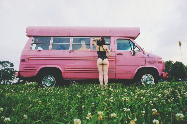 Van Truck Girl Girls Women Woman Portrait Green Old Junk Junkyard Vintage Vintage Cars Pink Dress Fashion Legs Sexygirl Beauty Sensual_woman Transportation Outdoors Day Stationary Grass Full Length Nature People Adult Rural Scene