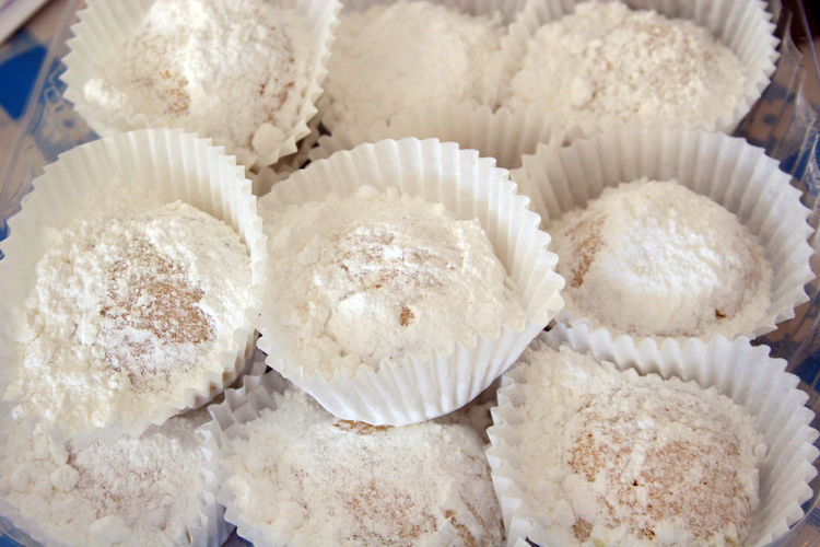 High Angle View Of Powdered Sugar On Desserts