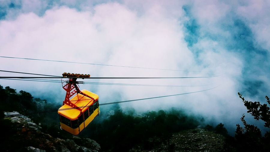 Overhead cable car against clouds