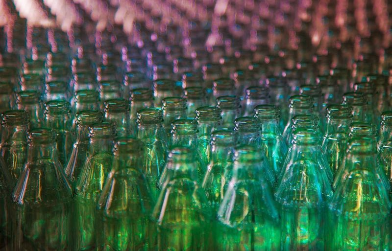 Full frame shot of glass bottles