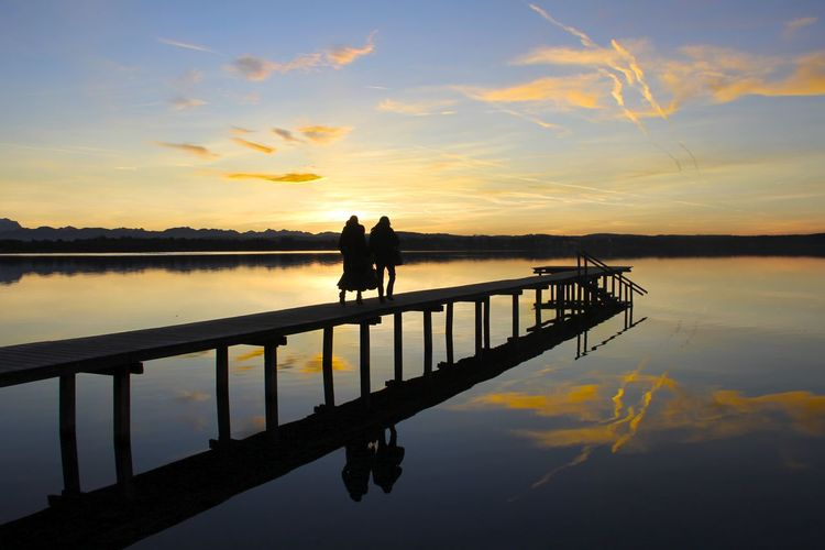 Catching the last sunrays at the Lake Bavaria Bavarian Lakes Lake Pier Reflection Reflections See Silhouette Starnberger See Starnbergersee Steg Sunset Sunset Silhouettes Tranquility Water Water Reflections