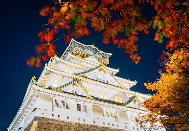Low angle view of traditional building against sky during autumn