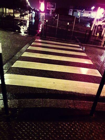 Night Road Marking Illuminated Street Striped Transportation City Street