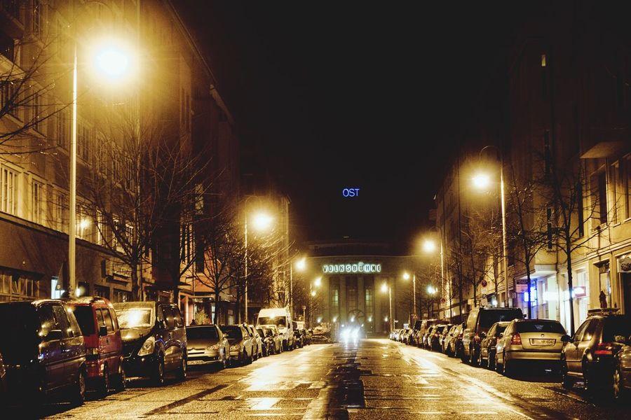 Streetlights Berlin East Streetphotography Nightphotography Night Photography Cities At Night Cityscapes Night Lights Neon Lights Volksbühne Overnight Success Capture Berlin