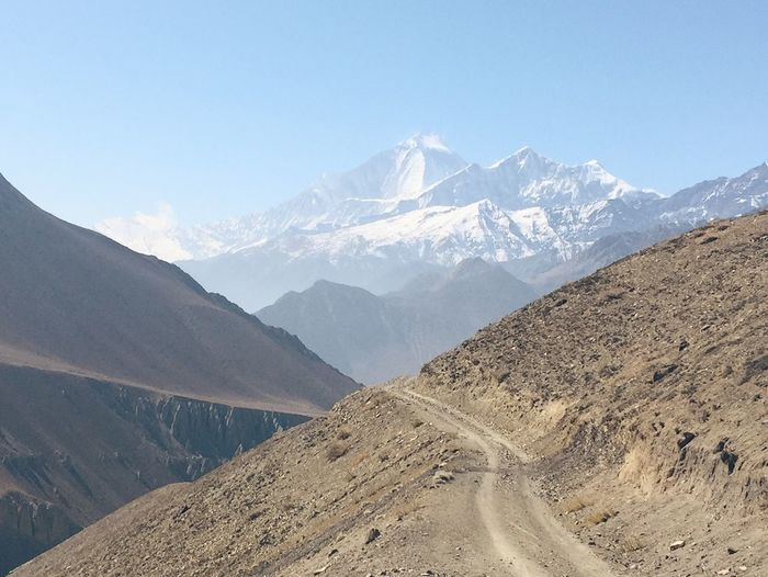 Scenic view of annapurna range against sky