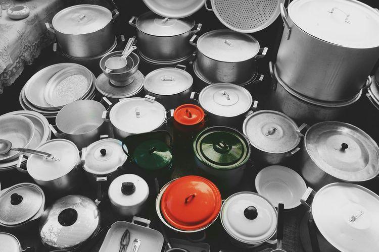 Stacks Of Metal Pots