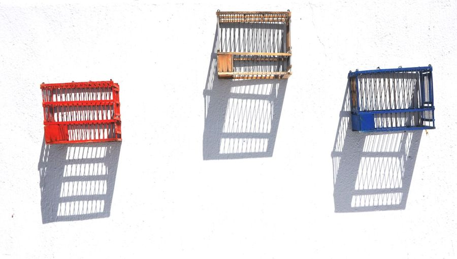 Birdcages Cage Red White And Blue Shadow Long Shadows Three Triple Wall Art Boxes White Background White Wall With Shadows Tricolor Santorini, Greece Oia Santorini Cyclades_islands Greece Mediterranean  Abstract Photography Wooden Cage White Wall Feel Good Photography Wall Hanging Wall Symmetry Kyclades