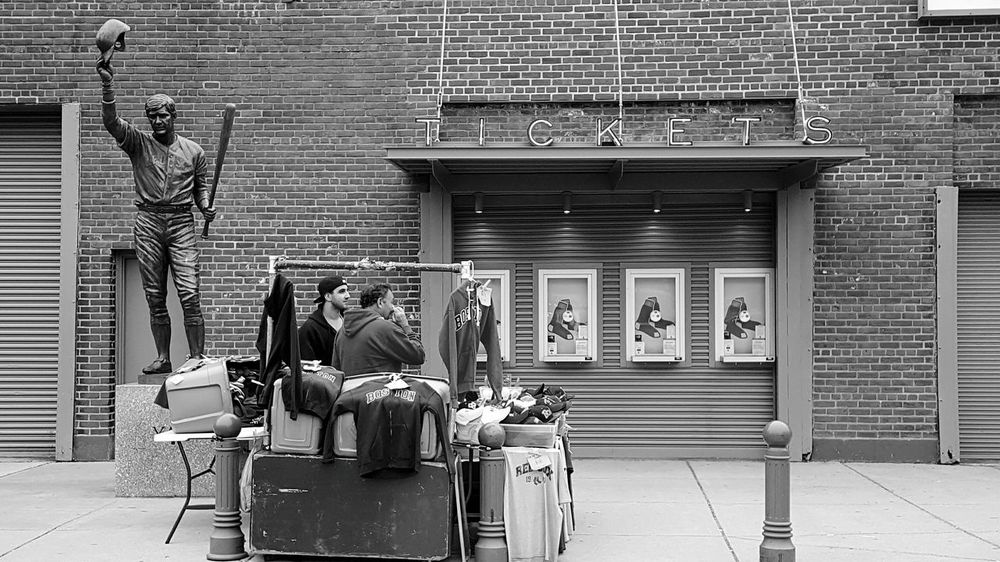 Street Vendors Fenway Park Boston, Ma Usa Street Photography Streetphotography_bw Ticket Window Statue Of Yaz Red Sox Nation EyeEm Gallery Eyeemphotography EyeEm EyeEm Best Shots - Black + White B&w Edit Profile Picture Edit No. 2 S6