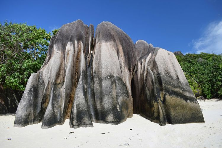 Panoramic view of rock on beach against sky