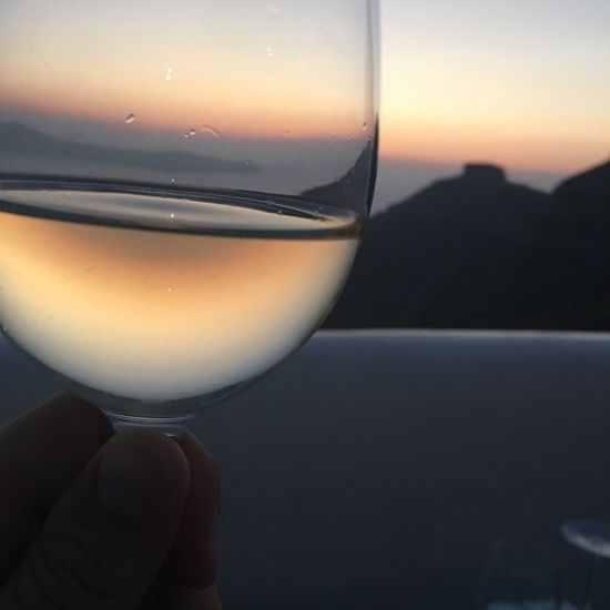Sunset Wine Wineglass View Santorini View From Above