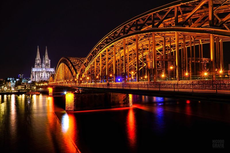 Reflection Night Architecture Illuminated Travel Destinations City Built Structure Bridge - Man Made Structure Sky Building Exterior No People Connection Modern Outdoors Water Cityscape Kölner Dom Köln Deutzer Brücke EyeEmNewHere EyeEmNewHere.