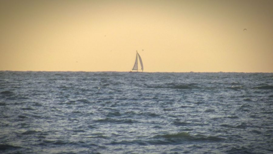 Pourville Sur Mer Sailboat Horizon Over Water Nautical Vessel Architecture Sailing Ship Outdoors Sail Horizon Sunset Golden Hour France Europe Normandy Sea Sky Cloud Ocean Landscape New Haven Dieppe Tall Ship Water Nature No People