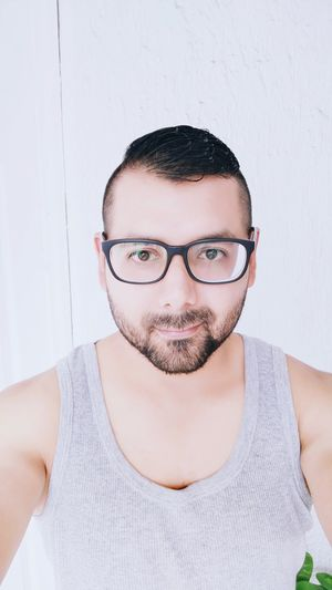 Glasses 👓 Faces Of EyeEm Men Portrait Looking At Camera Headshot Studio Shot Mustache Front View White Background Shaved Head Humor Eyeglasses  Brown Eyes Beard Facial Hair Barber