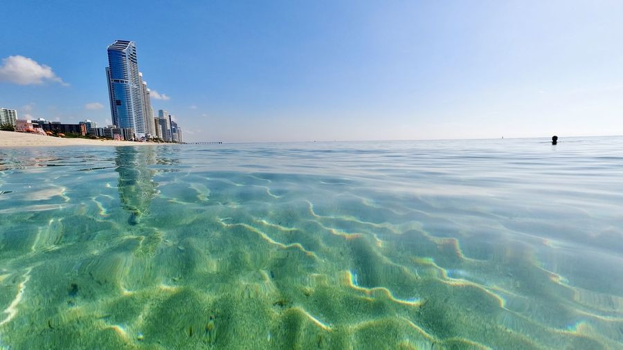 View of swimming pool in sea