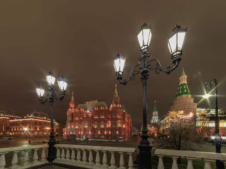 Night view on the Historical Museum at the Red Square in Moscow Illuminated Night Architecture Building Exterior City Street Light Lighting Equipment Travel Destinations Tourism Travel Outdoors Light Electric Lamp Historical Museum Kremlin Low Angle View Red Square Street Building