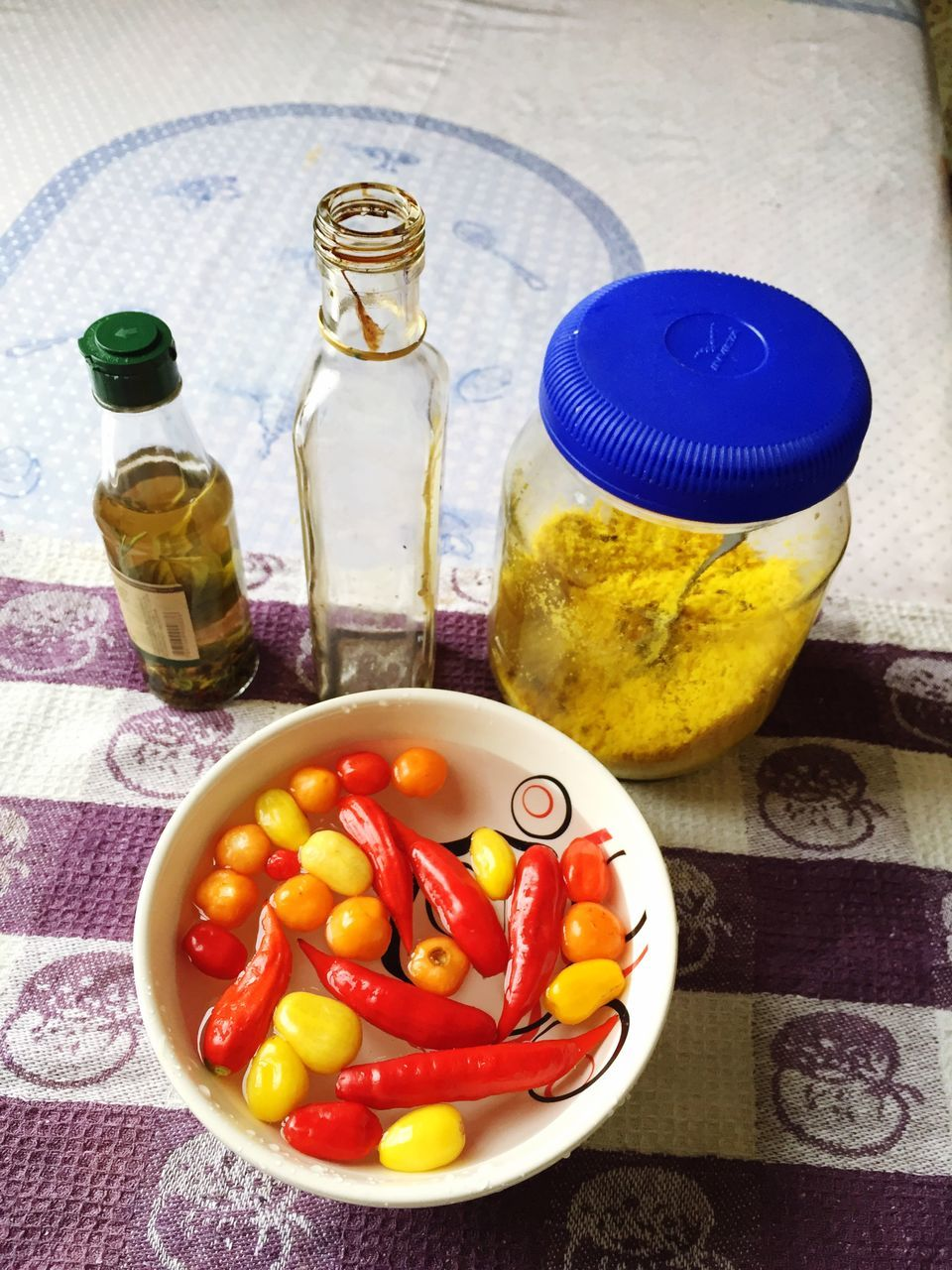 food and drink, bottle, table, food, olive oil, bowl, high angle view, indoors, no people, freshness, healthy eating, plate, close-up, day, ready-to-eat