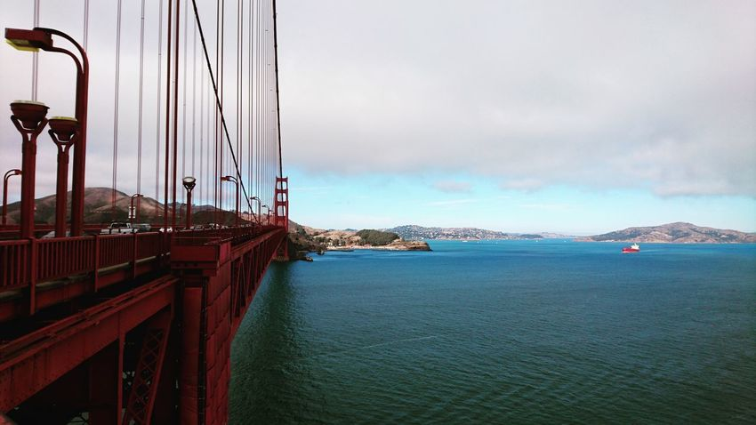 Sky Sea Panoramic Water Cloud Ocean City Life California San Francisco Clear Sky Golden Gate Bridge Golden Gate Bridge Is Red Suspension Bridge Traveling Discovering The World