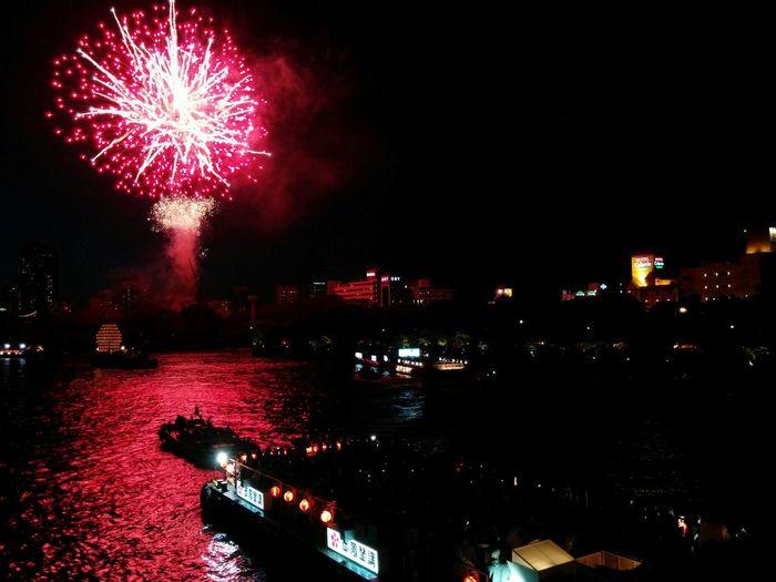 Festival Matsuri OSAKA Hanabi Fireworks Red Nightphotography Nexus5
