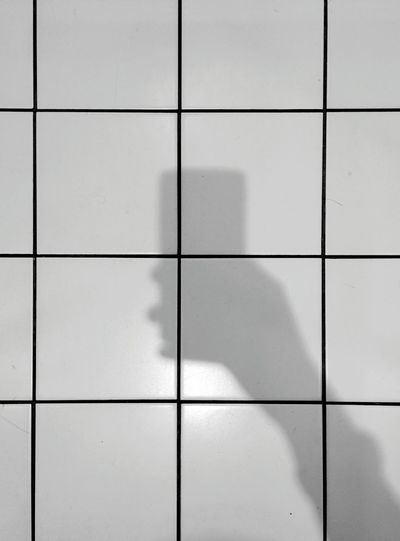 Day 198 - Bathroom selfie Berlin Blackandwhite Bathroom Tiles Lines Geometry Pattern 365florianmski 365project Day198