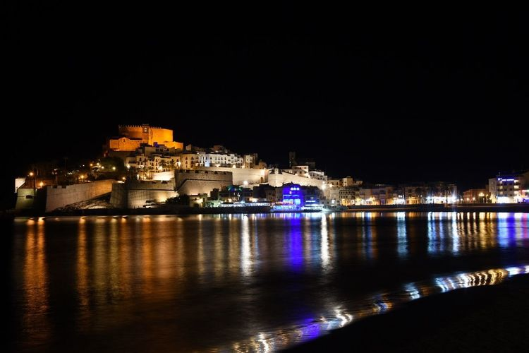 Papa Luna Castle Shore Paradise Beach Sand Holiday Beach Sea Travel Tourism Holidays Vacation Beautiful Mediterranean Landscape Mediterranean Sea Village Peñíscola Illuminated Water Architecture Night Built Structure City Reflection Sky Nature No People Outdoors